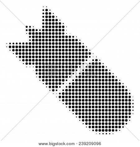 Dotted Black Aviation Bomb Icon. Vector Halftone Mosaic Of Aviation Bomb Symbol Formed Of Round Poin