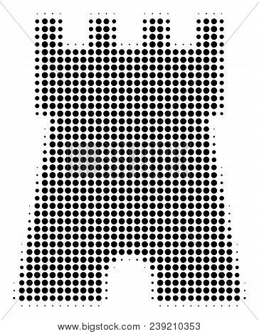 Pixelated Black Bulwark Tower Icon. Vector Halftone Mosaic Of Bulwark Tower Pictogram Constructed Of