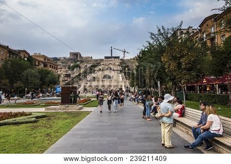 Yerevan, Armenia - September 21, 2017: Yerevan Cascade And The Giant Stairway In Yerevan Armenia. On