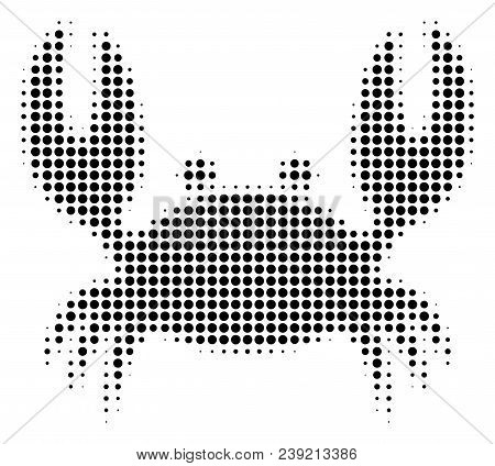 Dot Black Crab Icon. Vector Halftone Pattern Of Crab Pictogram Constructed Of Round Pixels.
