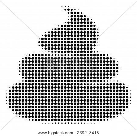 Pixel Black Crap Icon. Vector Halftone Mosaic Of Crap Icon Created From Circle Items.