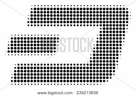 Dotted Black Dash Currency Icon. Vector Halftone Concept Of Dash Currency Pictogram Made With Round