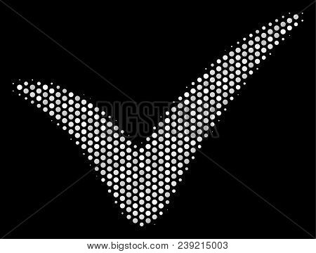 Dot White Yes Icon On A Black Background. Vector Halftone Concept Of Yes Pictogram Created From Roun