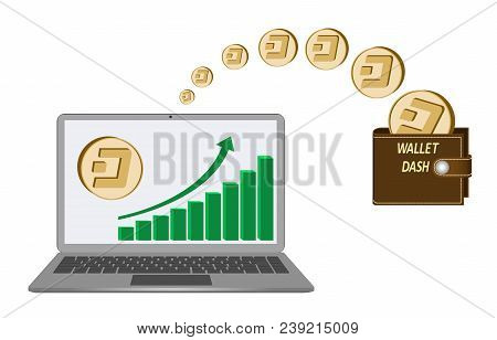 Transfer Dash Coins From Laptop In The Wallet On A White Background,growth Diagram With Coin Of Dash