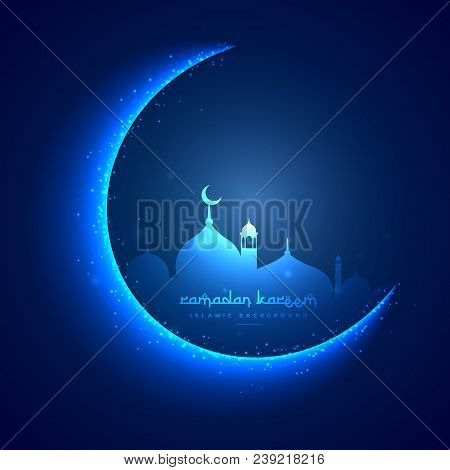 Eid Greeting Card With Moon And Masjid