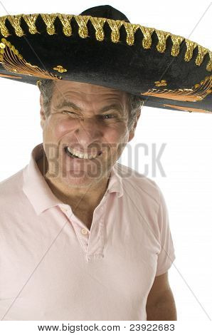 Middle Age Senior Tourist Male Wearing Mexican Somebrero Hat