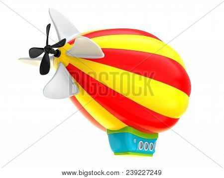 Cartoon Airship Isolated On White Background, Back View. Dirigible In Cartoon Kids Style. 3d Illustr
