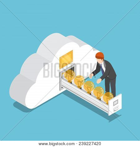 Isometric Businessman Collect Idea Light Bulb In Cloud Shape Room
