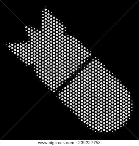Pixel White Aviation Bomb Icon On A Black Background. Vector Halftone Illustration Of Aviation Bomb