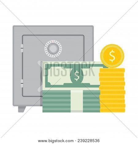 Deposit Account Safe And Money. Vector Money In Safe, Finance Deposit Cash, Savings Financial Illust