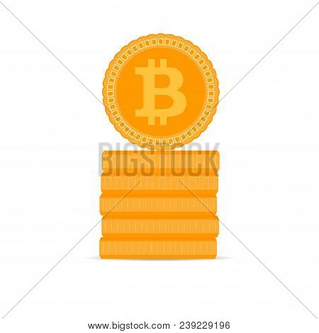 Stack Of Golden Bitcoin Coins. Golden Finance Cryptography Currency, Money And Bit Coin. Vector Illu