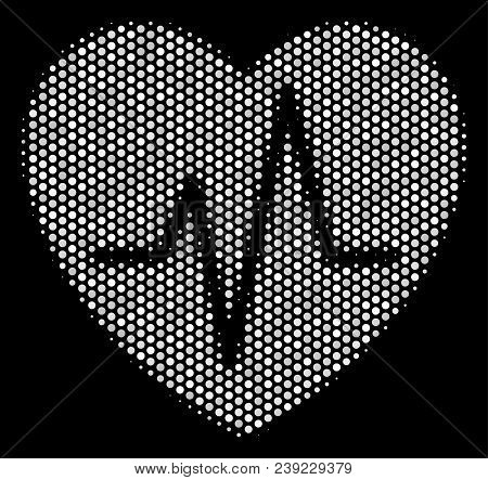 Dot White Cardiology Icon On A Black Background. Vector Halftone Concept Of Cardiology Symbol Made W