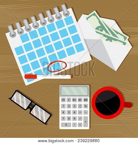 Monthly budget audit counting. Wage salary, financial budget, calculate money. Vector illustration poster