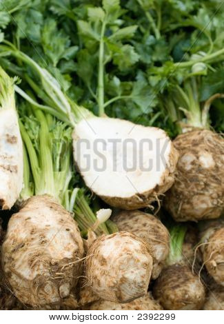 Fresh Celery Root At The Local Market