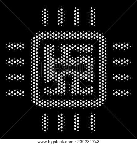 Pixel White Cpu Circuit Icon On A Black Background. Vector Halftone Collage Of Cpu Circuit Pictogram