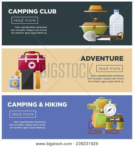 Camp Club Or Camping Adventure Web Banners Of Hiking Tools And Accessories. Vector Flat Design Of Ca