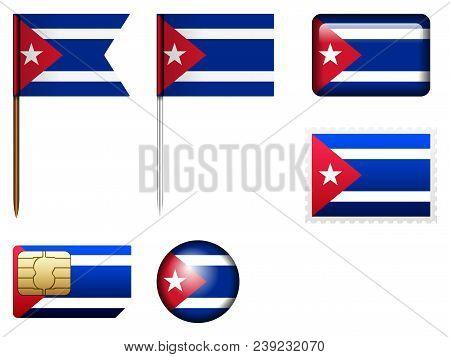 Cuba Flag Set On A White Background.
