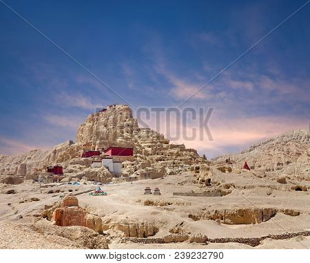 Panorama Of Tsaparang, The Ruins Of The Ancient Capital Of Guge Kingdom And Tholing Monastery, Tibet