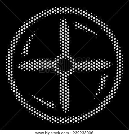 Dotted White Drone Screw Rotation Icon On A Black Background. Vector Halftone Illustration Of Drone