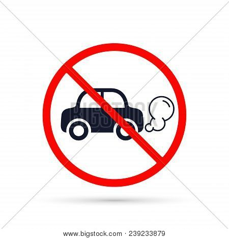 No Idling Or Idle Reduction Transport Sign On White Background. Vector Isolated Illustration.