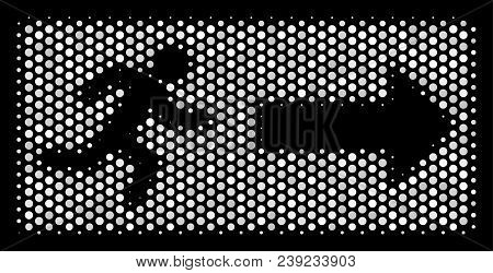 Pixel White Emergency Exit Icon On A Black Background. Vector Halftone Mosaic Of Emergency Exit Pict