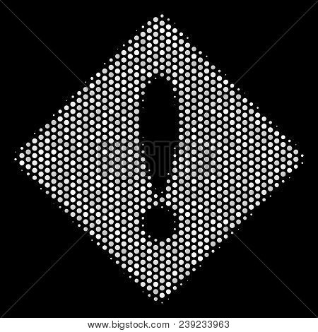 Dotted White Error Icon On A Black Background. Vector Halftone Composition Of Error Symbol Created W