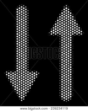 Pixelated White Exchange Arrows Icon On A Black Background. Vector Halftone Mosaic Of Exchange Arrow