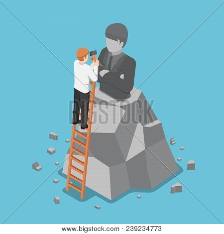 Flat 3d isometric businessman creating the model of his statue. Business leadership and ego concept.