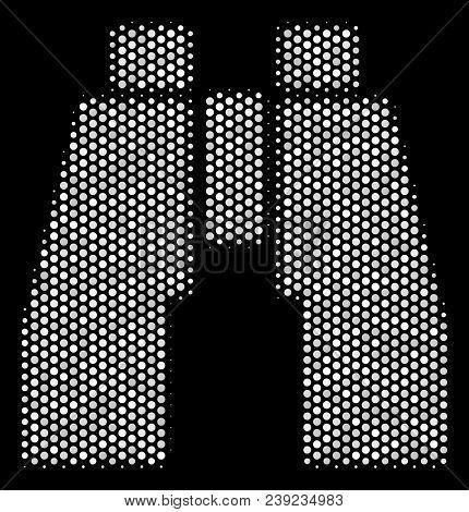 Pixel White Find Binoculars Icon On A Black Background. Vector Halftone Mosaic Of Find Binoculars Pi