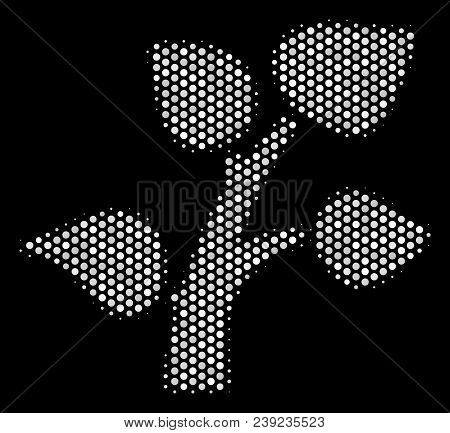Dot White Flora Plant Icon On A Black Background. Vector Halftone Composition Of Flora Plant Pictogr