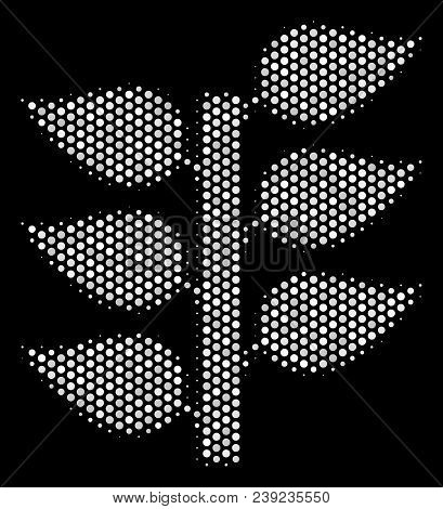 Pixel White Flora Plant Icon On A Black Background. Vector Halftone Composition Of Flora Plant Symbo