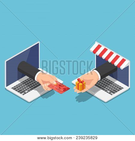 Isometric Businessman Hand Use Credit Card To Shopping Online