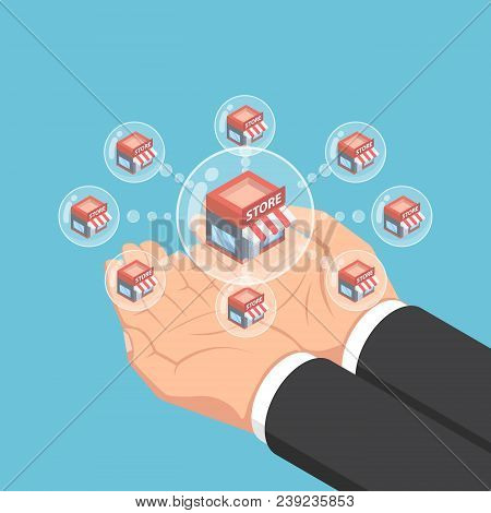Isometric Businessman Hands Holding Store Network Bubbles