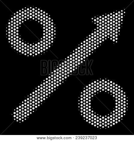 Dotted White Growing Percent Icon On A Black Background. Vector Halftone Composition Of Growing Perc