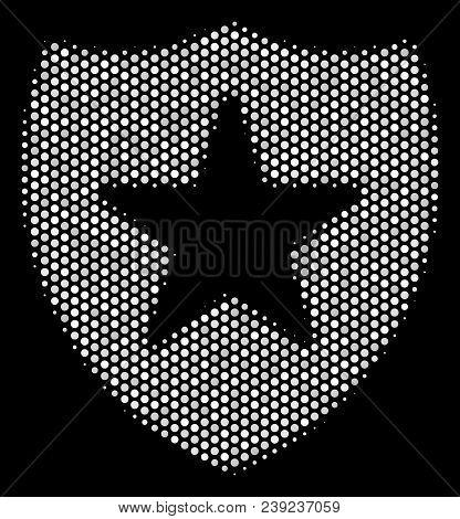 Pixelated White Guard Icon On A Black Background. Vector Halftone Illustration Of Guard Icon Designe