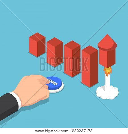 Isometric Businessman Launching Rocket To Increase Graph.