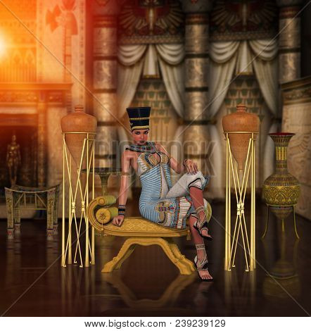 3d Render Of An Egyptian Princess, Queen, Pharaoh,  Cleopatra, Isolated On White