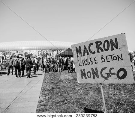 Strasbourg, France - May 5, 2018: People Making A Party Protest Fete A Macron Party For Macron In Fr