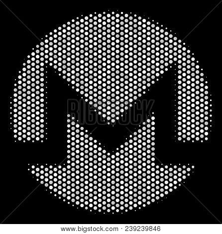 Pixelated White Monero Currency Icon On A Black Background. Vector Halftone Collage Of Monero Curren