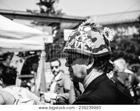 Strasbourg, France - May 5, 2018: People Making A Party Protest Fete A Macron Party For Macron - Man