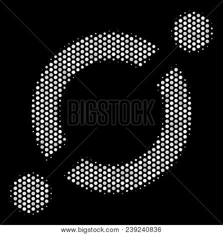 Dot White Node Link Icon On A Black Background. Vector Halftone Concept Of Node Link Icon Formed Wit