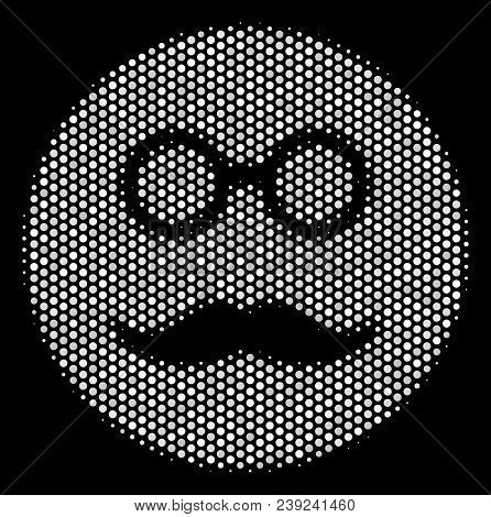 Dotted White Pension Smiley Icon On A Black Background. Vector Halftone Illustration Of Pension Smil