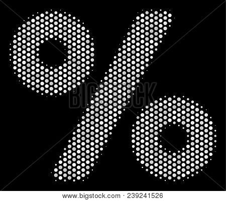 Dotted White Percent Icon On A Black Background. Vector Halftone Concept Of Percent Icon Designed Wi