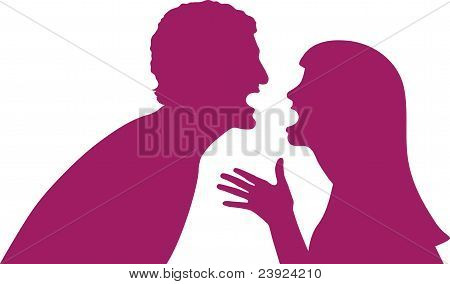 Couple talking passionately