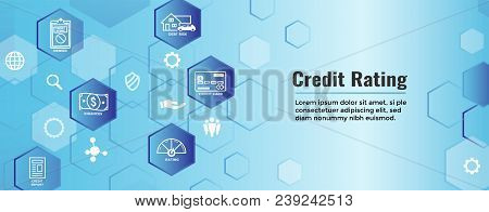 Credit Rating Header Web Banner W Debt, Credit Card, And Credit Score Icon Set