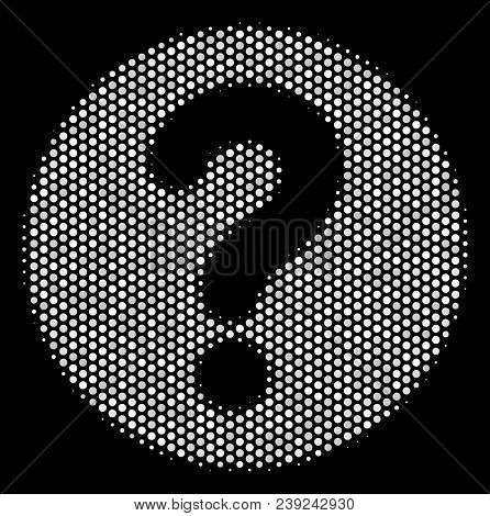 Dot White Query Icon On A Black Background. Vector Halftone Pattern Of Query Pictogram Designed Of S