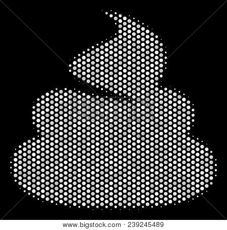 Pixelated White Shit Icon On A Black Background. Vector Halftone Pattern Of Shit Symbol Constructed