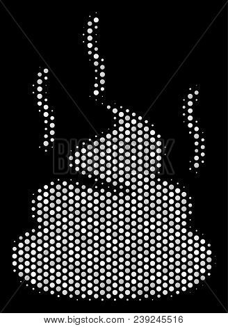 Pixelated White Shit Smell Icon On A Black Background. Vector Halftone Concept Of Shit Smell Symbol