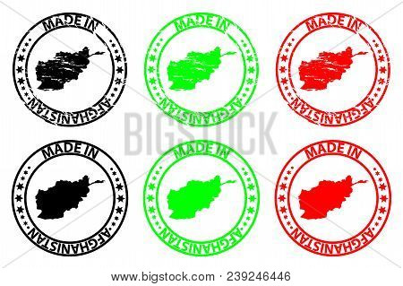 Made In Afghanistan  - Rubber Stamp - Vector, Afghanistan Map Pattern - Black, Green And Red