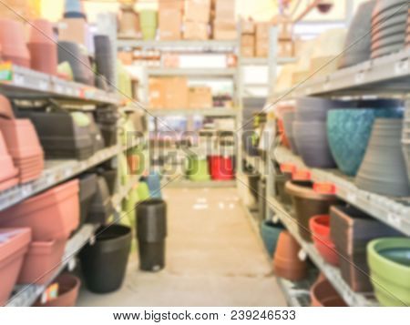 Blurred Tool And Equipment At Garden Center Of Retail Store In Usa